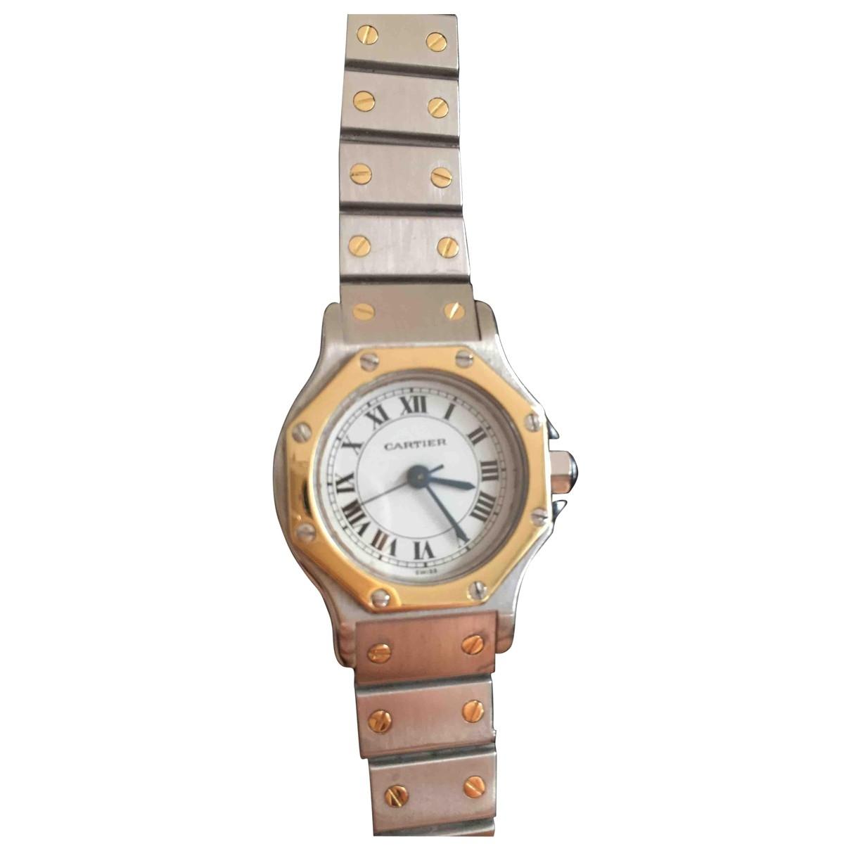 Cartier Santos Ronde Uhr in  Silber Gold und Stahl