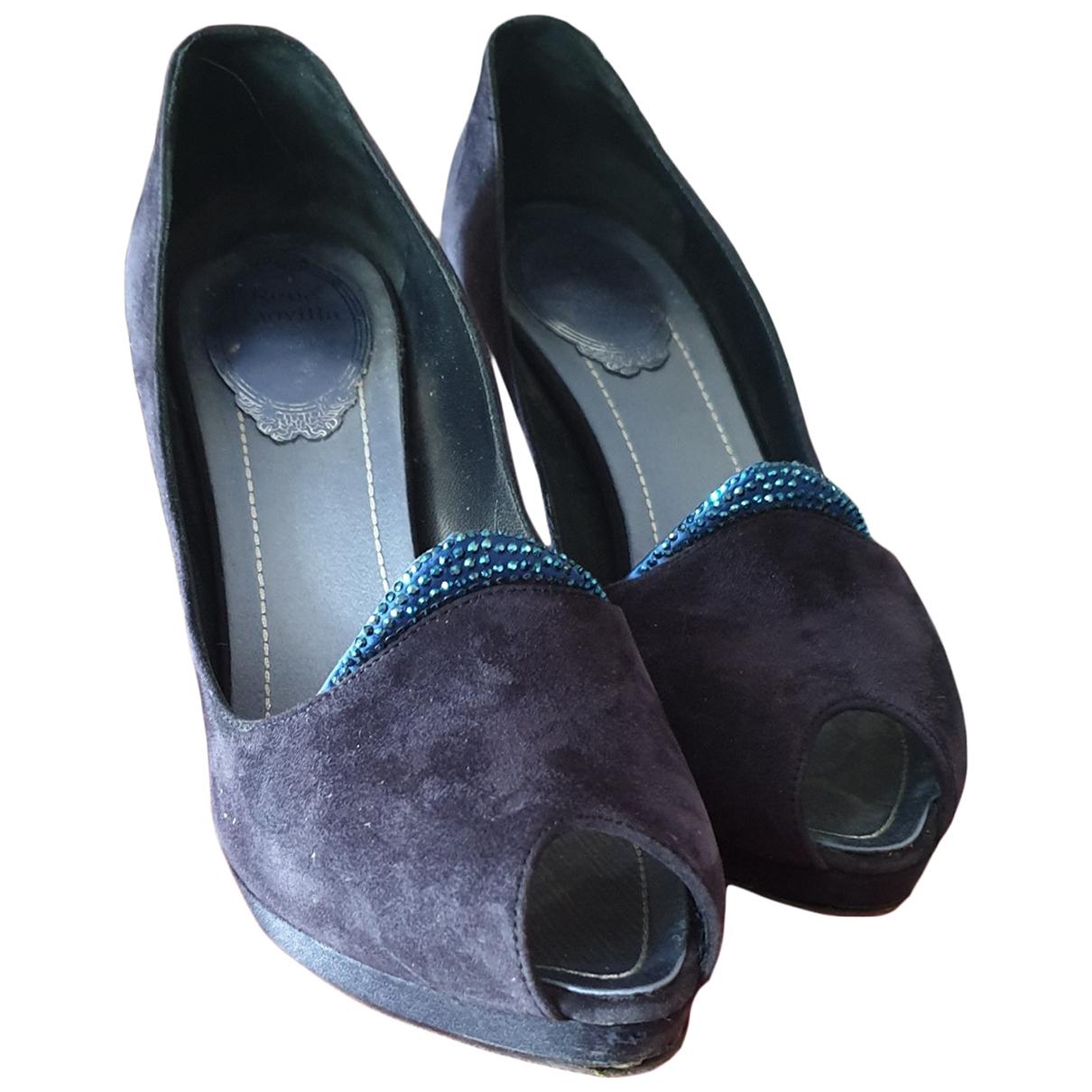 Rene Caovilla - Escarpins   pour femme en suede - bleu
