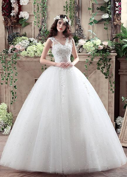 Milanoo Princess Wedding Dress V Neck Lace 3D Flowers Applique Bridal Gown Beaded White Floor Length Keyhole Ball Gown Bridal Dress