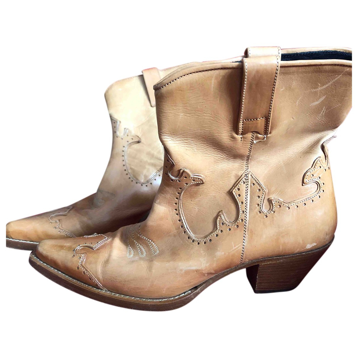 Ermanno Scervino N Camel Leather Boots for Women 37 EU