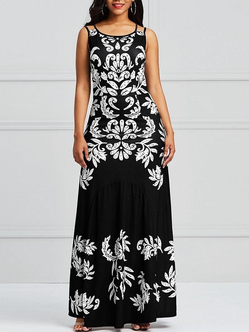 Ericdress Floral Print Sleeveless Backless Women's Dress