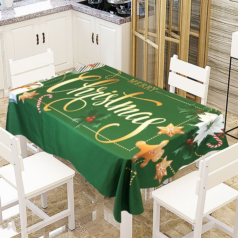 No Pilling No Fading No Off-Lining Waterproof Dustproof Simple And Aesthetic Christmas Theme Printing Pattern 3D Tablecloth