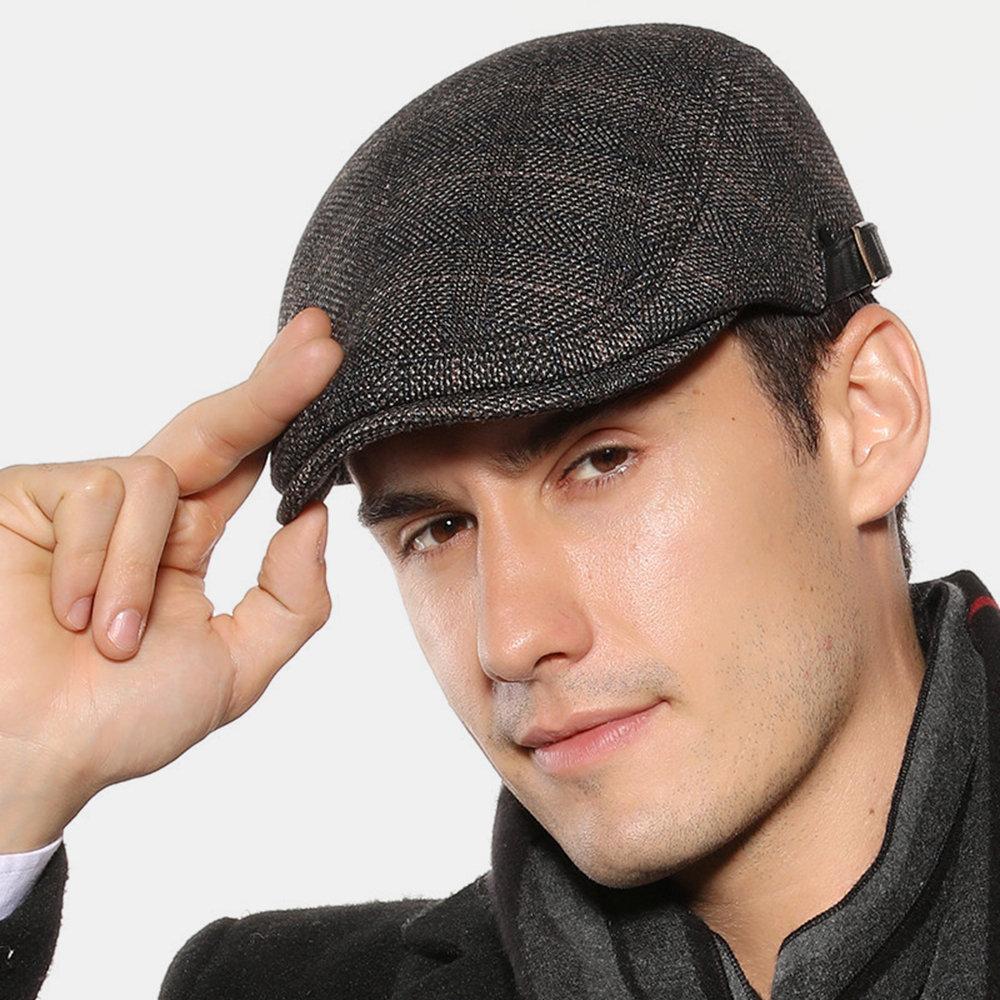 Men's Beret Caps British Plaid Cap Men Outdoor Casual Hat Felt Adjustable