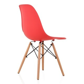 CozyBlock Set of 4 Molded Red Plastic Dining Shell Chair with Beech Wood Eiffel Legs