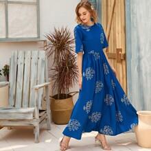 Rueckenfreies Maxi Kleid mit Blumen Muster