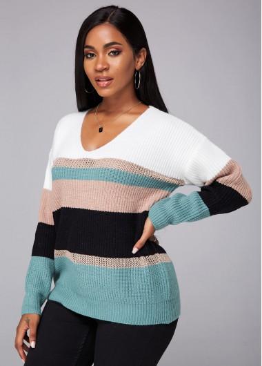 Trendy V Neck Long Sleeve Color Block Sweater - XL