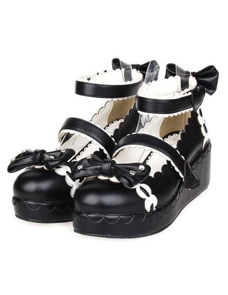 Milanoo Zapatos Lolita Dulce Tirantes de Tobillo Lazos Blanco Trim