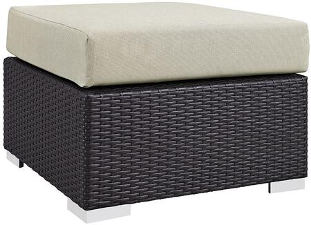 Convene Collection EEI-1911-EXP-BEI 25 Outdoor Patio Square Ottoman with Fabric Cushion  Stainless Steel Legs  Powder Coated Aluminum Tube Frame  UV