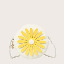Girls Round Flower Detail Crossbody Bag