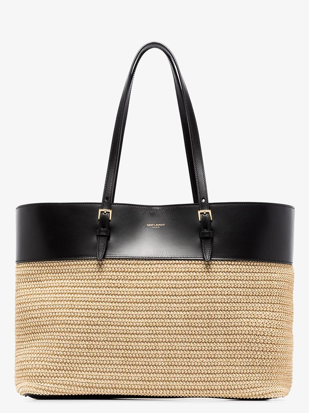 Boucle Rafia And Leather Shopping Bag