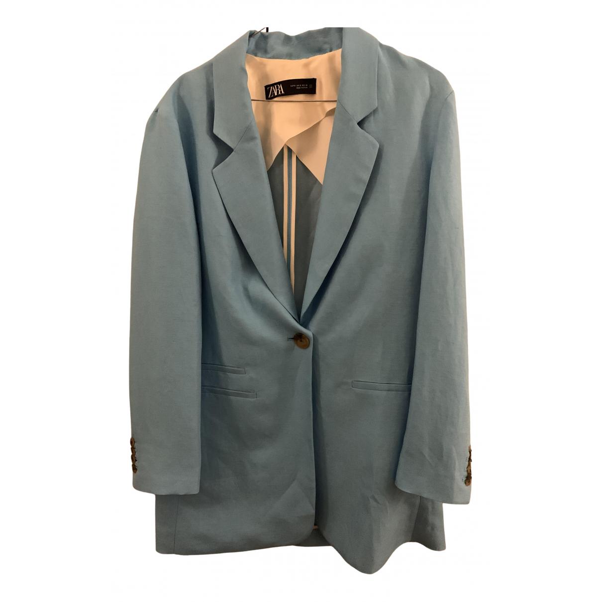 Zara - Veste   pour femme en lin - marine