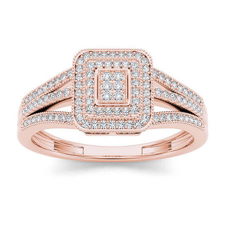 1/6 CT. T.W. Diamond 10K Rose Gold Engagement Ring, 6 1/2 , No Color Family