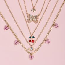 5pcs Cherry Charm Necklace