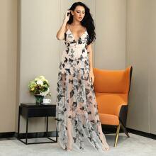 Rueckenfreies Kleid mit Kreuzgurt, Schmetterling & Pflanzen Muster und Netzstoff