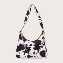 Cow Print Chain Decor Shoulder Bag