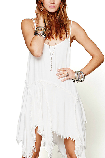 Yoins Asymmetric Hem Cami Dress with Fringe Details in White