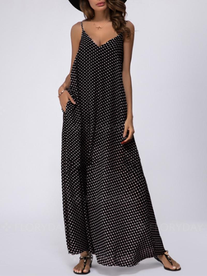 Tidebuy Pullover Sleeveless V-Neck A-Line Women's Maxi Dress