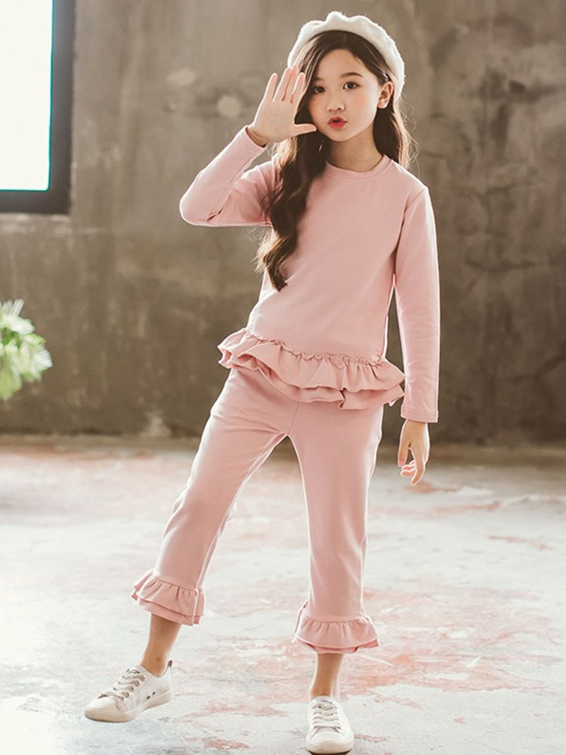 Ericdress Plain Ruffles Pleated T Shirts & Pants Girl's Casual Outfits
