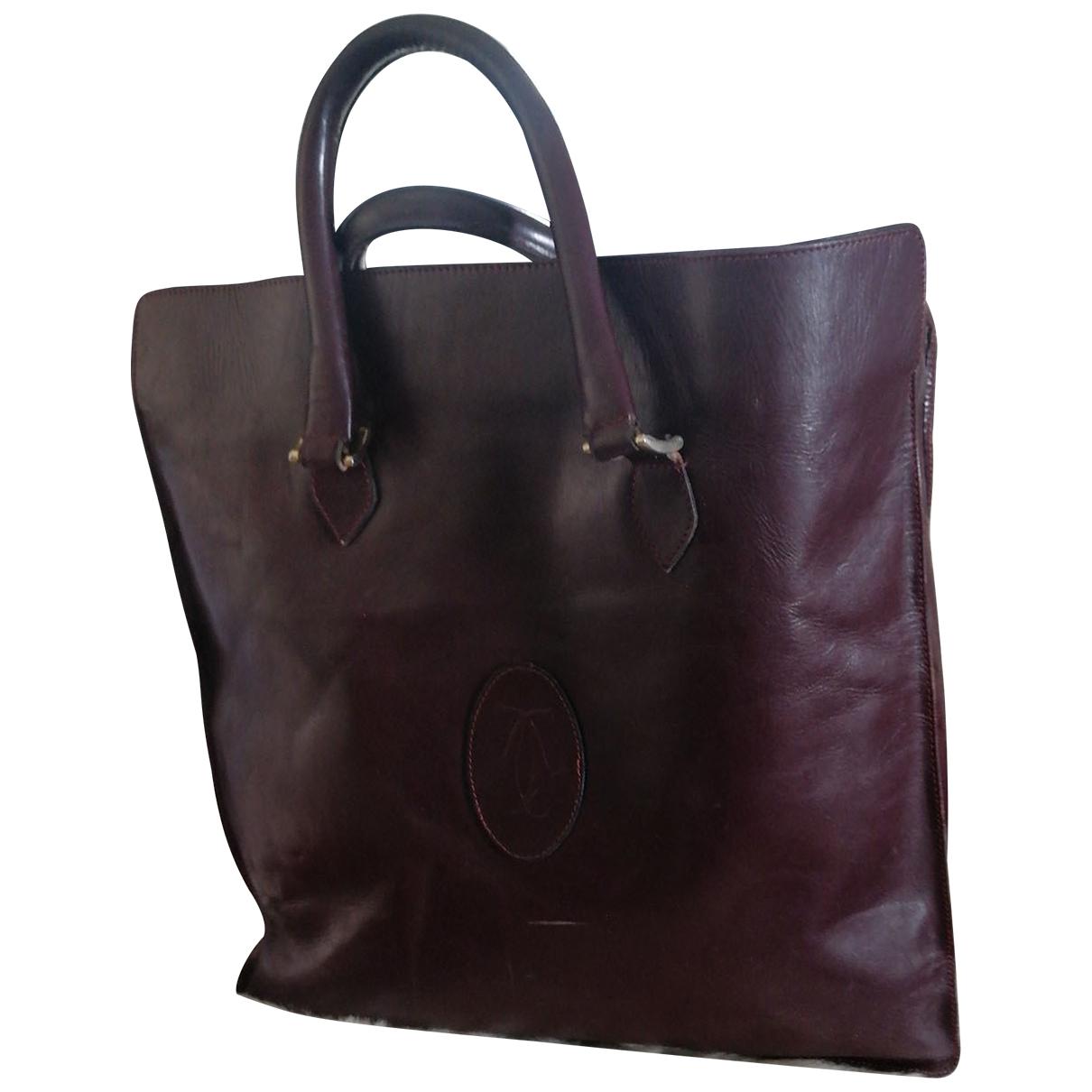 Cartier \N Handtasche in  Bordeauxrot Leder