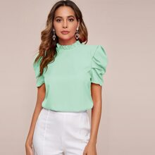 Frilled Neck Puff Sleeve Top