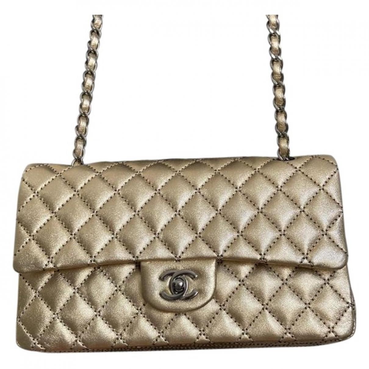 Chanel Timeless/Classique Handtasche in  Gold Leder