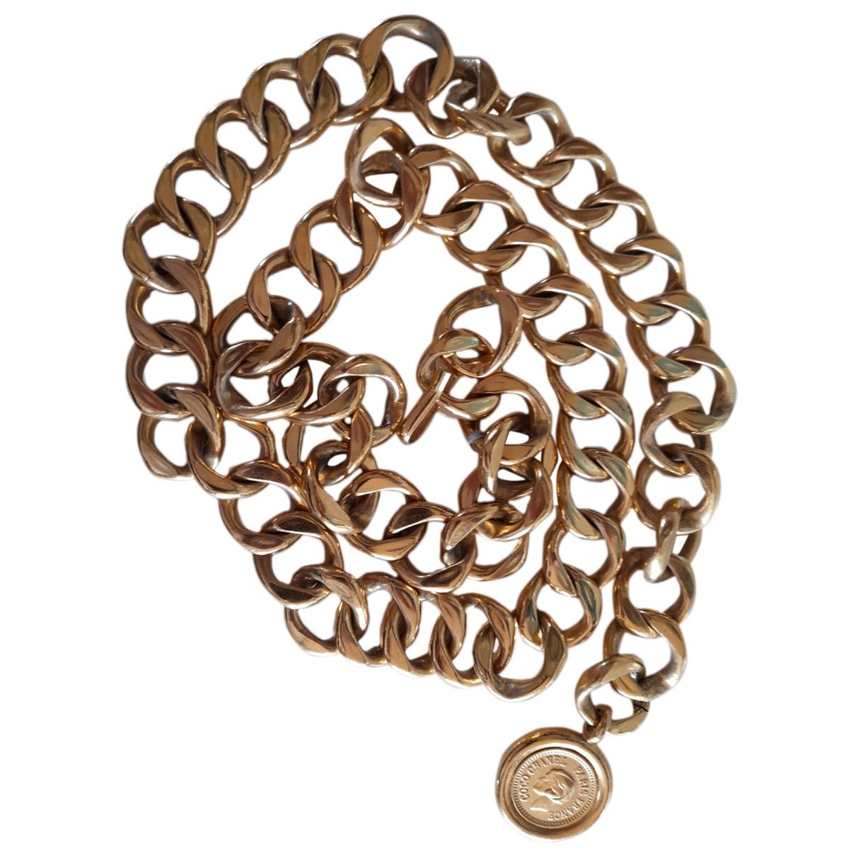 Chanel N Yellow Metal belt for Women S International