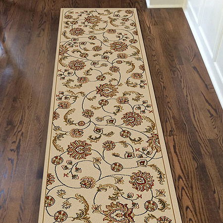 Como Transitional Floral Area Rug, One Size , White