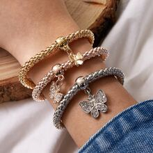 3pcs Rhinestone Decor Butterfly Charm Bracelet