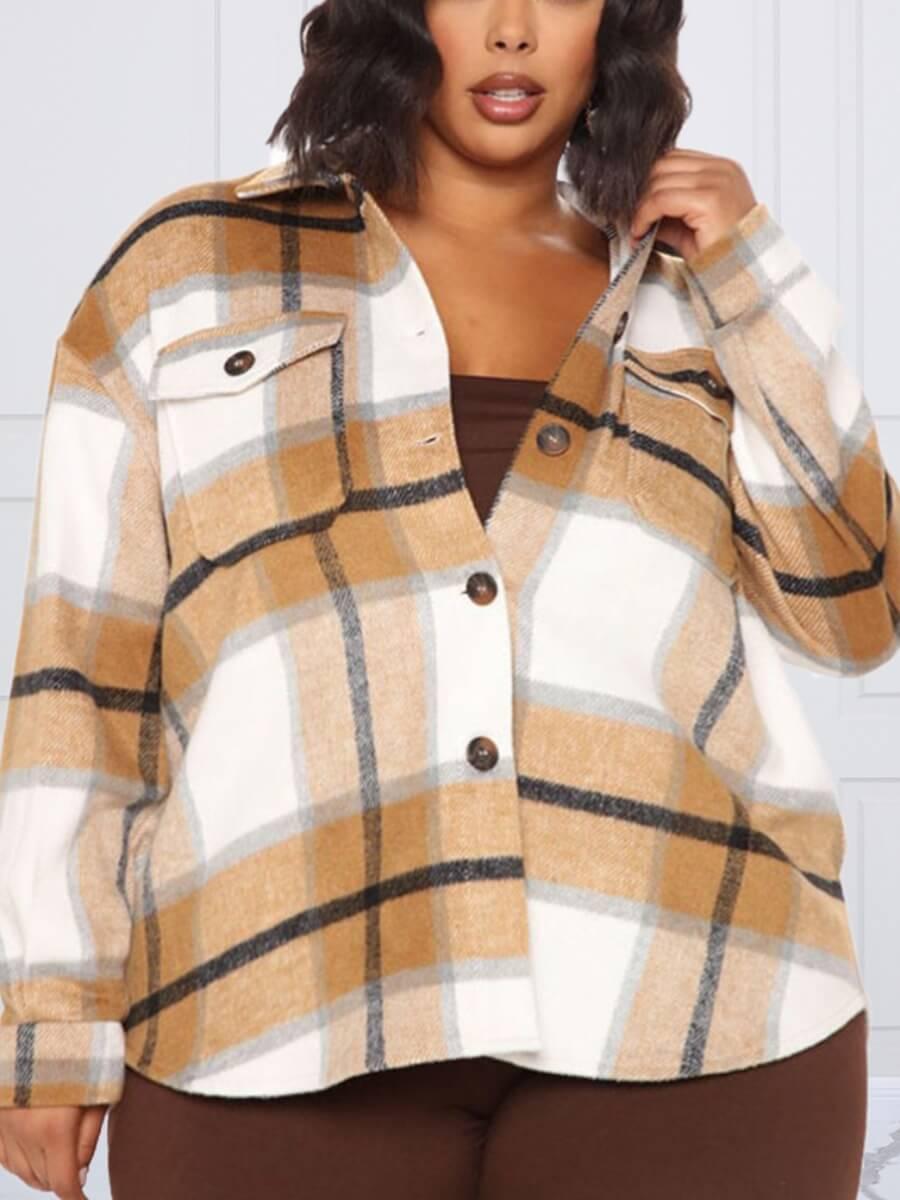 LW Lovely Trendy Turndown Collar Grid Print Khaki Plus Size Blouse