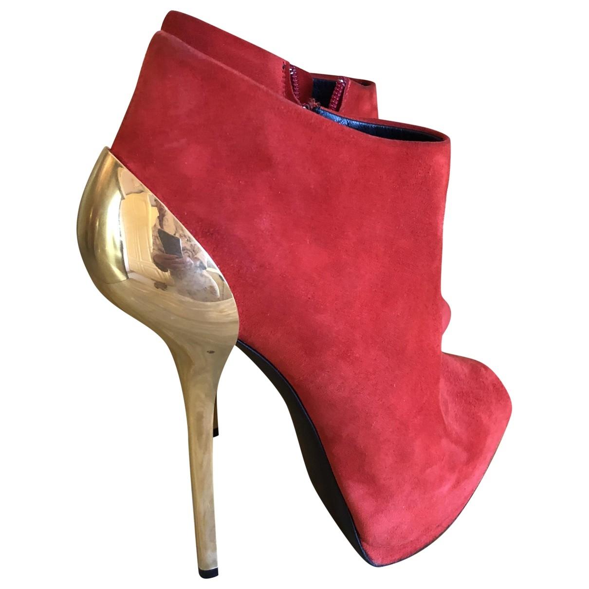 Giuseppe Zanotti - Boots   pour femme en suede - rouge