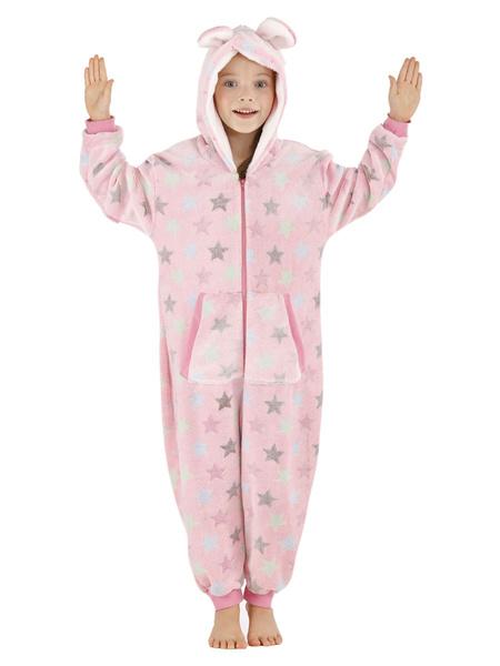 Milanoo Kigurumi Onesie Pajamas Starlet Pink Kid Flannel Winter Sleepwear Mascot Animal Halloween