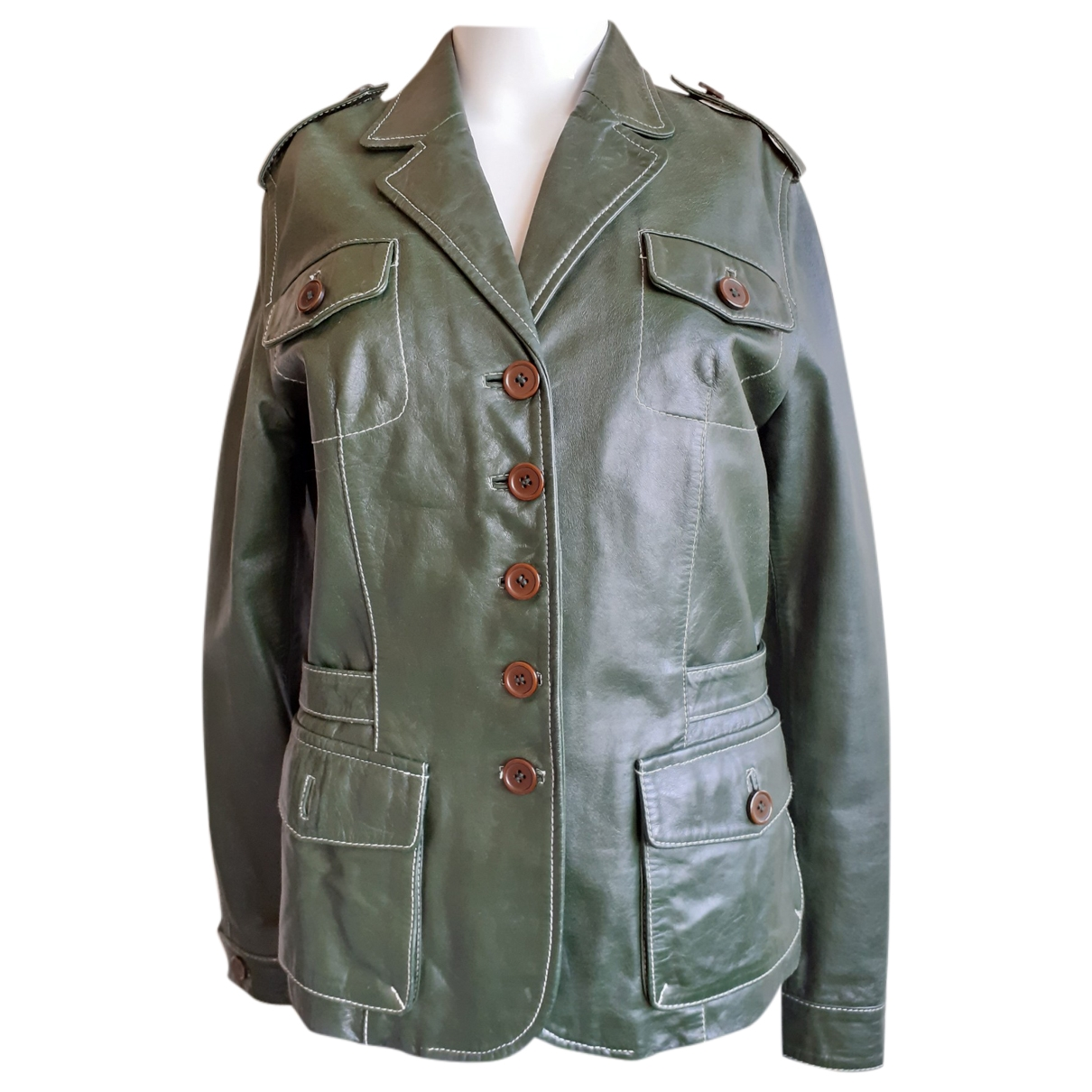 Non Signé / Unsigned \N Green Leather jacket for Women 40 FR