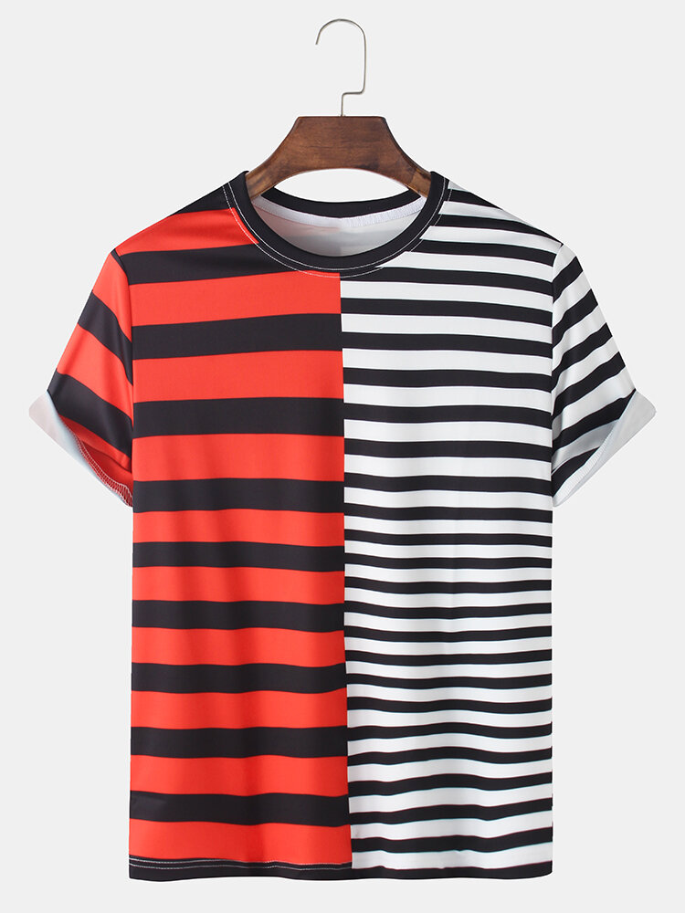 Mens Patchwork & Striped Print Breathable Loose O-Neck T-Shirts