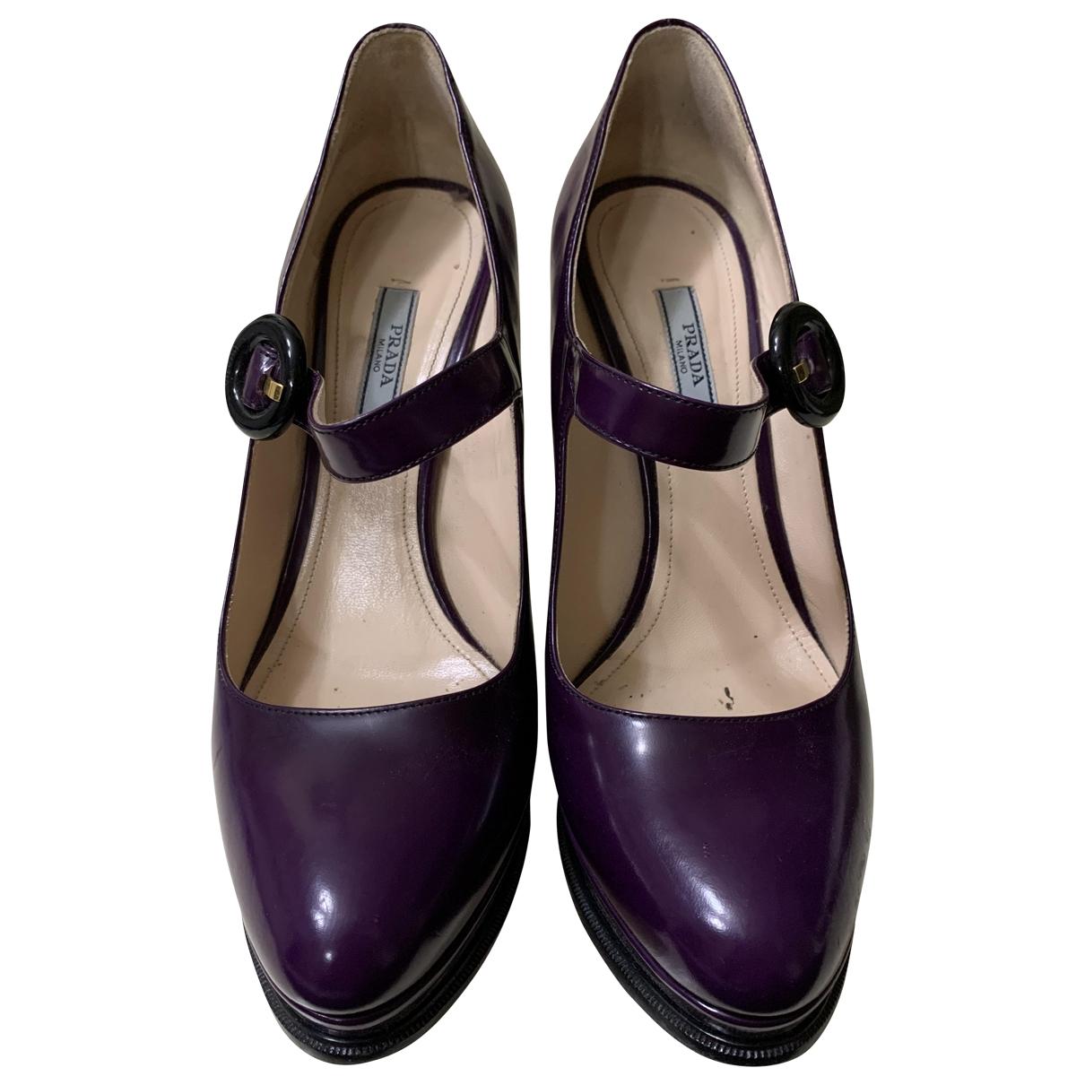 Prada - Escarpins Mary Jane pour femme en cuir - violet