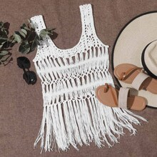 Macrame Fringe Tie Back Crochet Cover Up Top Without Bra