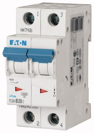 Moeller Electric xPole 20 A MCB Mini Circuit Breaker, 2P Curve C