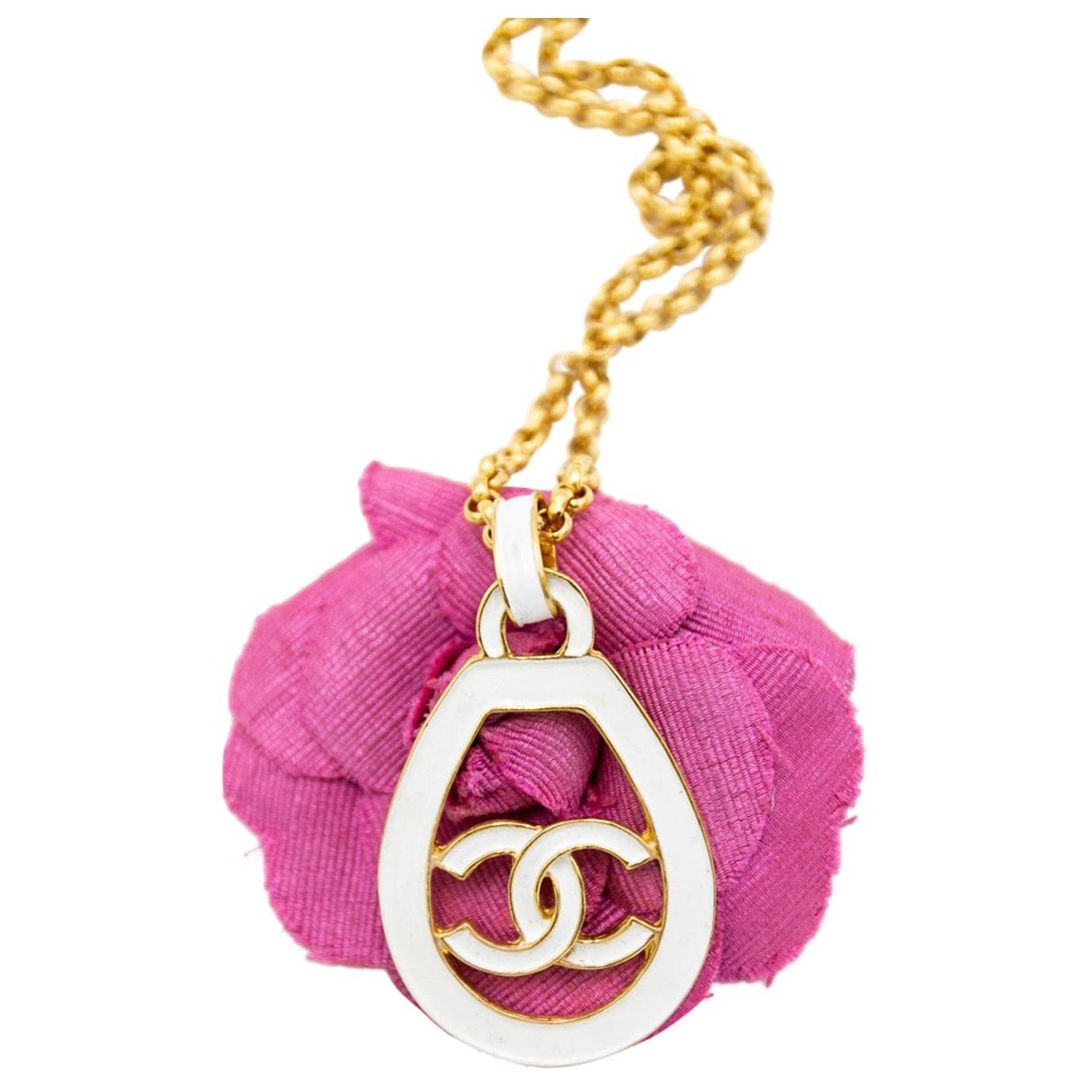 Chanel - Collier CC pour femme en metal - blanc