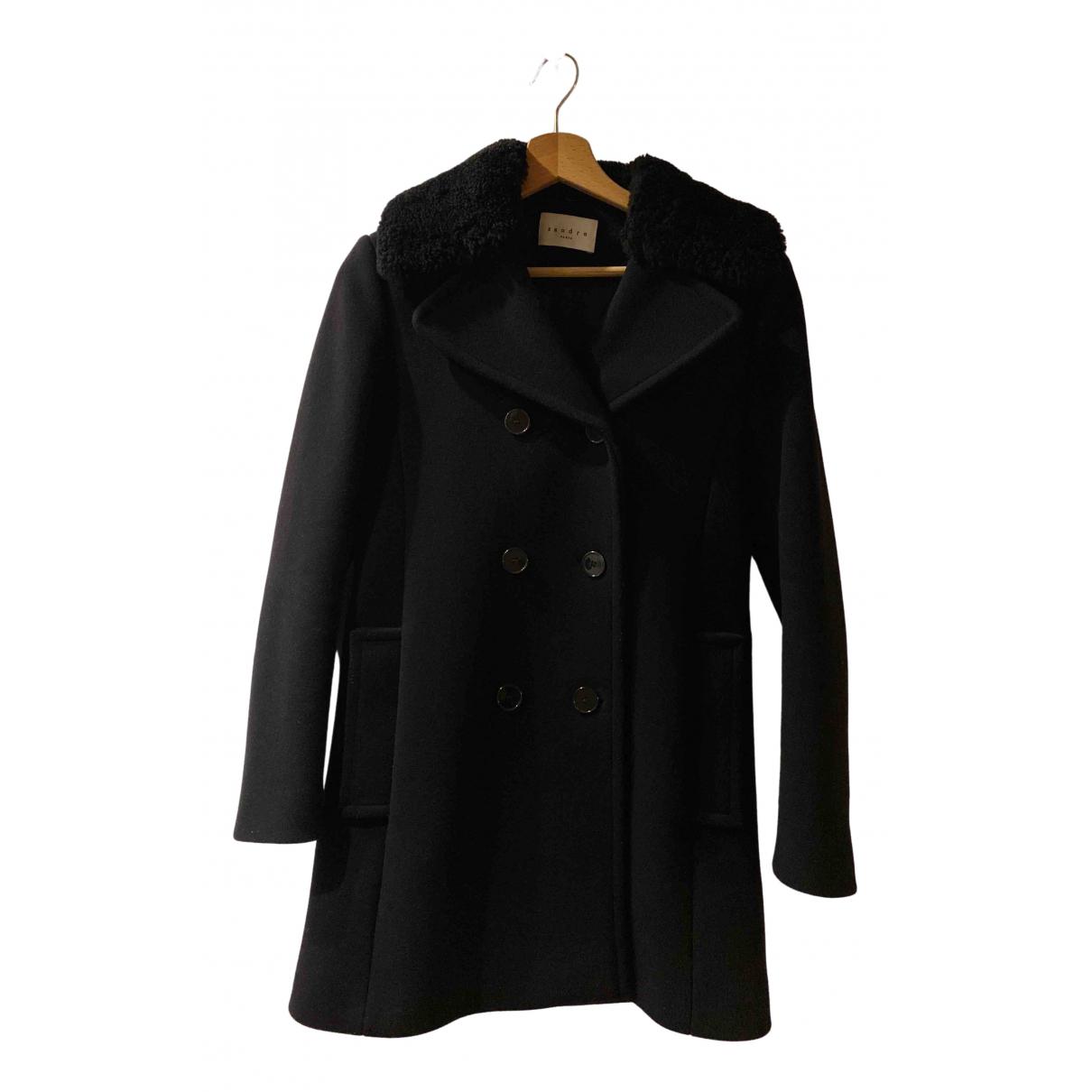 Sandro - Manteau   pour femme en laine - noir