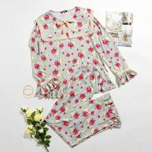 Conjunto de pijama top floral de cuello con cordon con pantalones