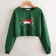 Christmas Graphic Crop Sweatshirt