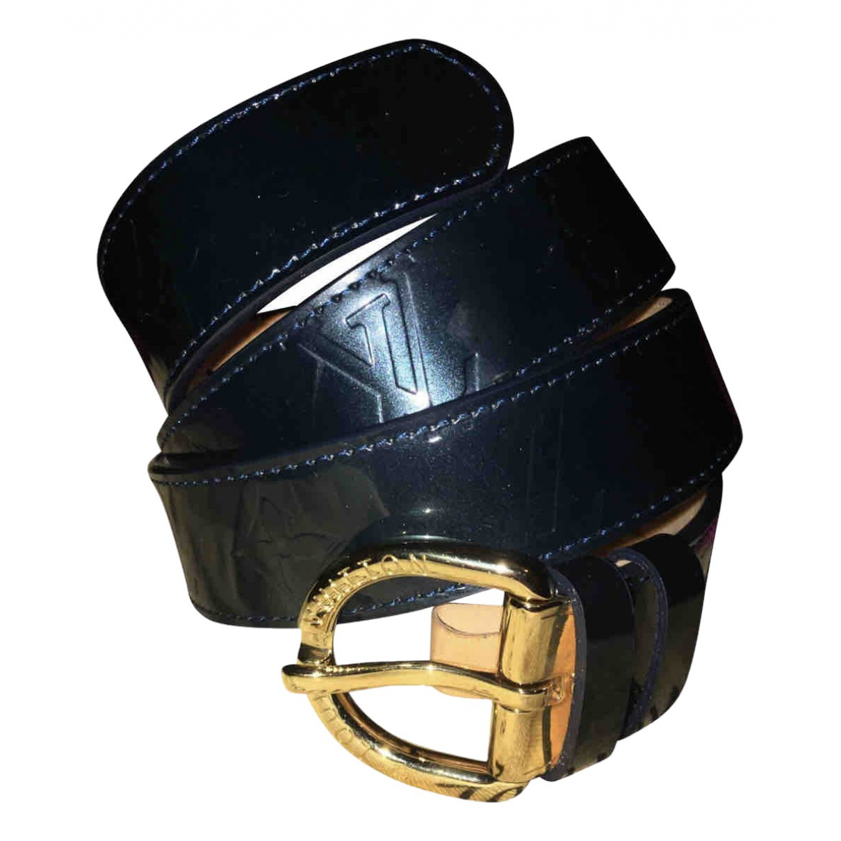 Louis Vuitton N Navy Patent leather belt for Women M International