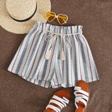 Shorts mit Papiertasche Taille, Guertel und Streifen