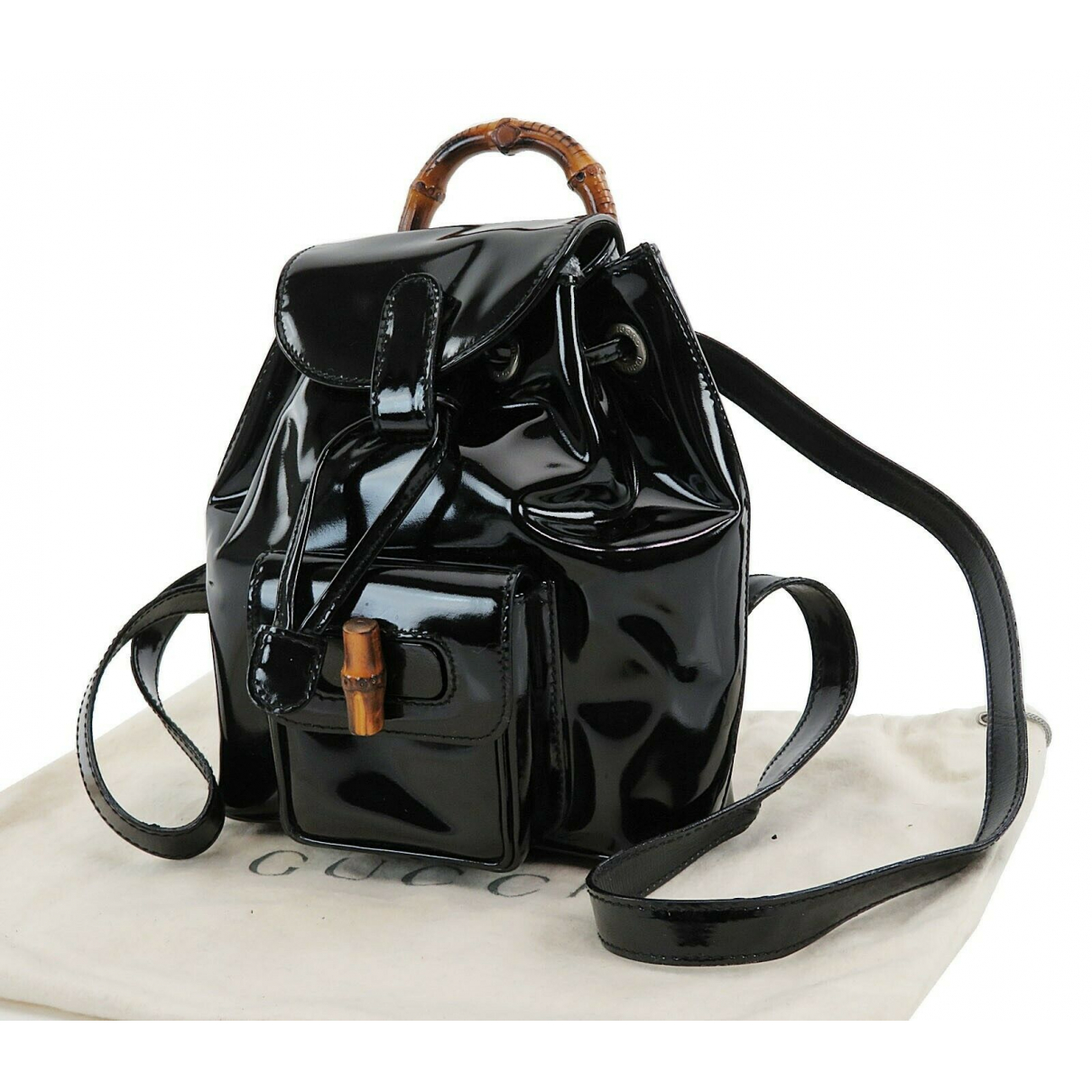 Gucci \N Black Patent leather backpack for Women \N
