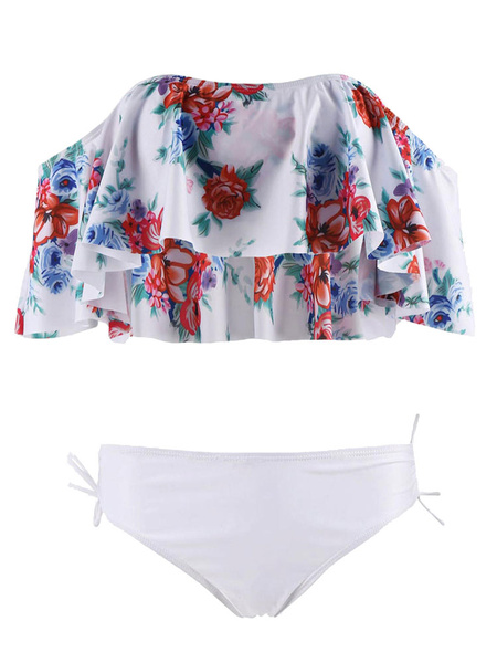 Milanoo 2 Piece Swimsuit Off The Shoulder Floral Print Half Sleeve Ruffle Women Black Bikini Swim Wear