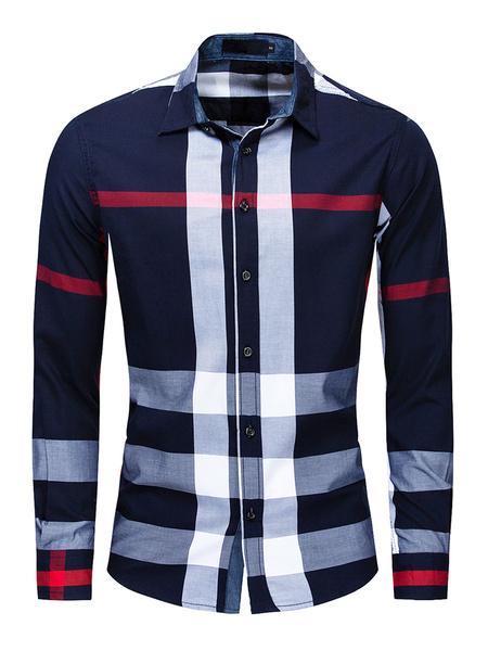 Milanoo Camisa de hombre 100% algodon a cuadros Regualr Fit