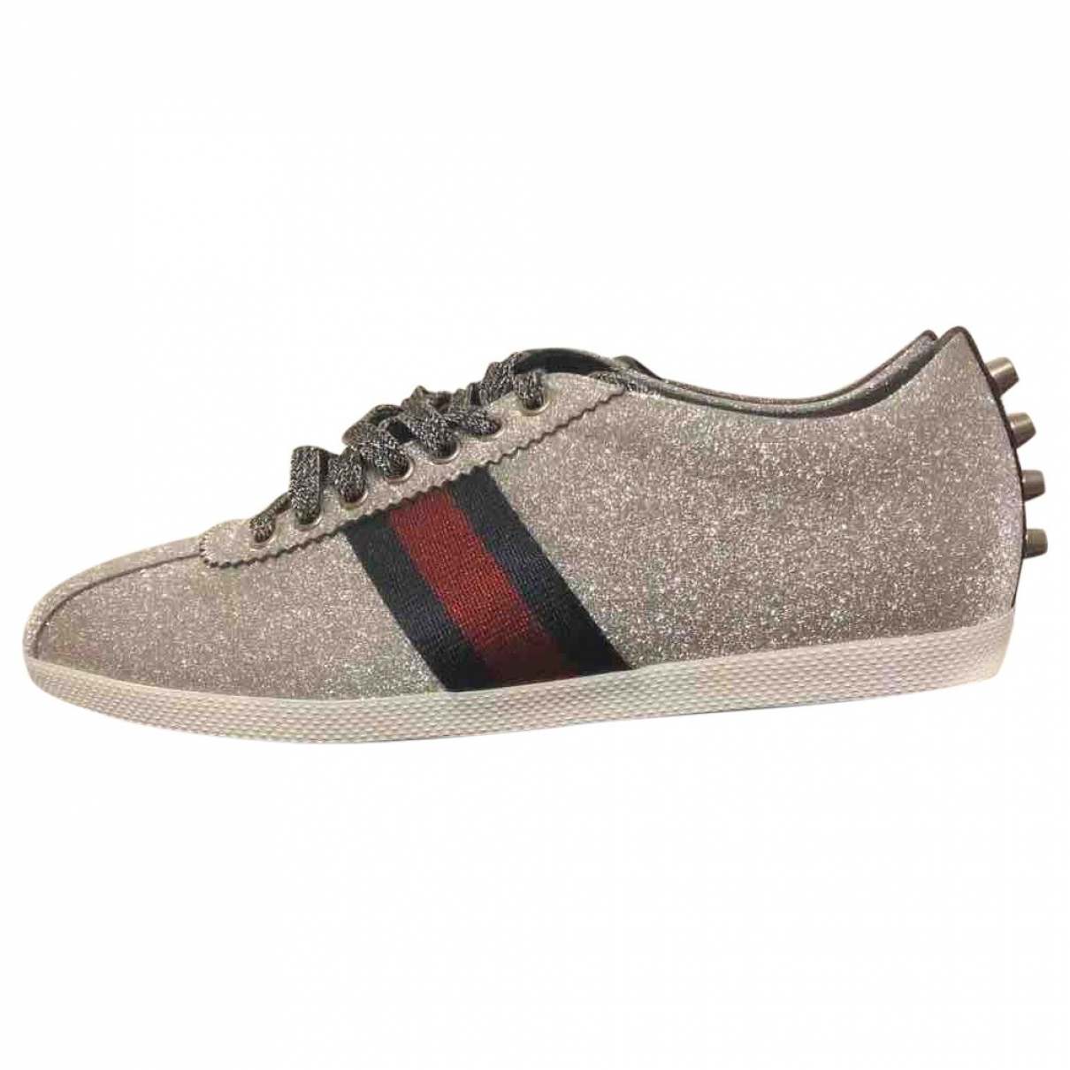 Gucci Falacer Silver Glitter Trainers for Men 40.5 EU