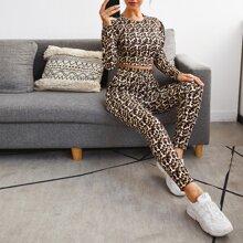 Camiseta delgada de manga farol de leopardo