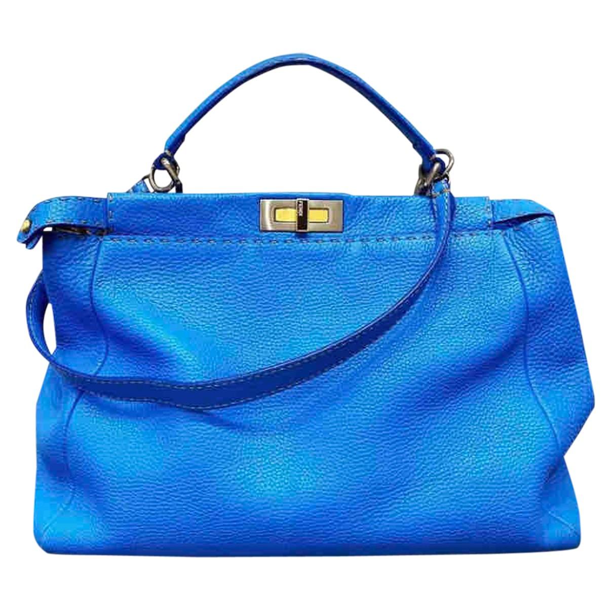 Fendi Peekaboo Handtasche in  Blau Leder