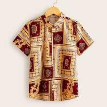 Boys Button Front Scarf Print Shirt