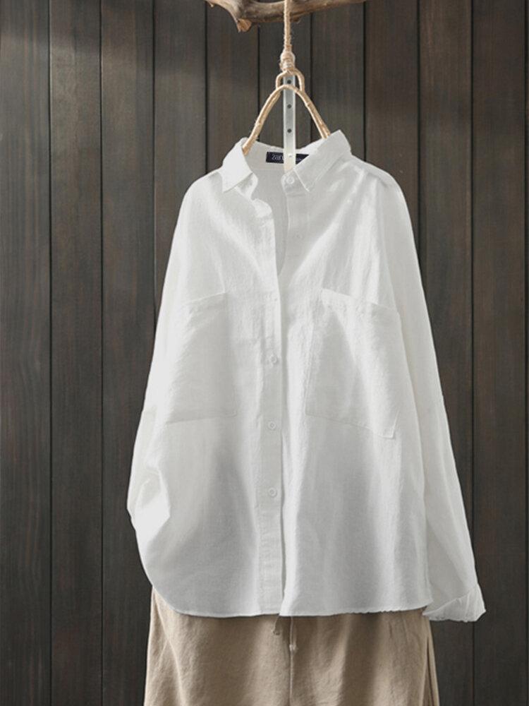 Solid Color Lapel Plus Size Casual Shirt